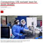 コロナウイルス:英国の亜種「より致命的かもしれない」